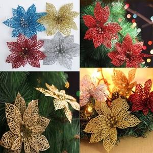 Image 1 - 10 pçs 15cm flores artificiais brilhantes decorações da árvore de natal decoração para casa fontes festa de casamento festivo 6zhh186