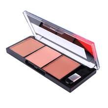 Palette de poudre pour le visage, Palette combinée de 3 couleurs, fard à joues, cosmétique général, naturel, éclaircissant, magnifique, yeux rouges, C0J3