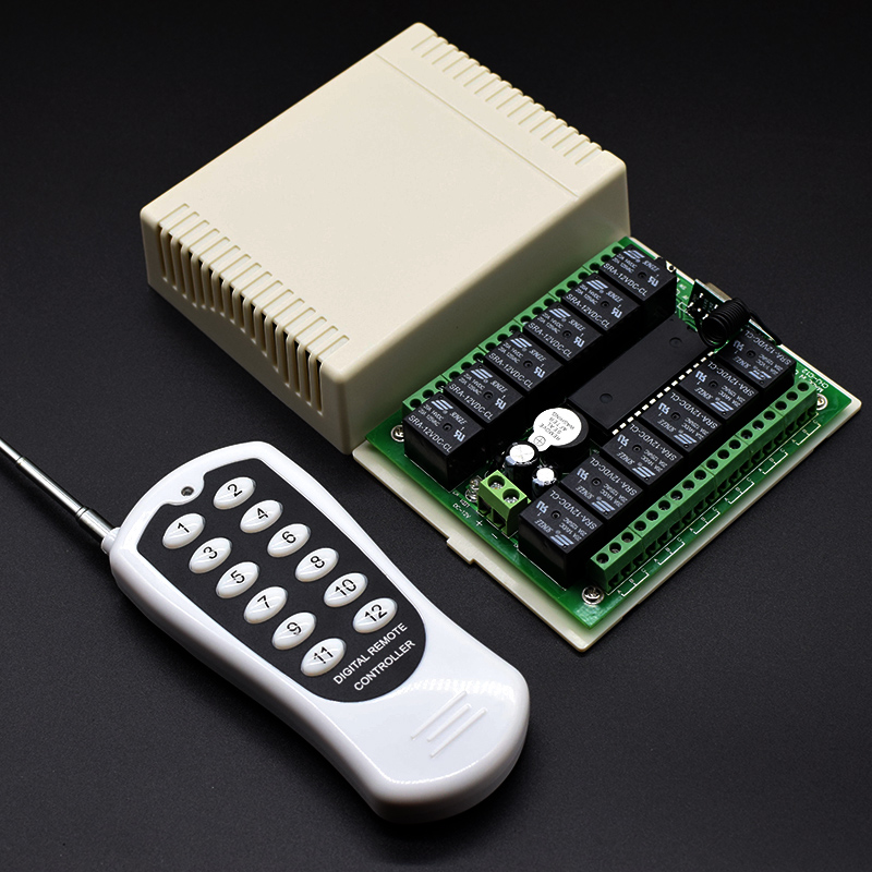 DC 12V Or 24V 12CH Remote Relay Module Wireless Light Switch Receiver Control 433MHz With 12 Button RF Transmitter DropShipping