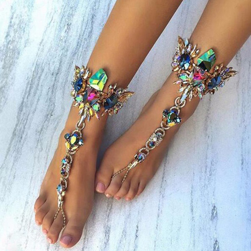 New Luxury Crystal Rhinestones Gem Flower Pendant Anklet Chain Ankle Barefoot Sandals Foot Jewelry Beach Vacation Ankle