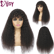 Wigs Human-Hair-Wigs IJOY Kinky Straight Bangs Black Natural-Color Women Brazilian Non-Remy