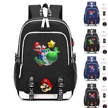 Kreskówka Mario wydrukowano USB ładowarka plecak nastolatki chłopcy dziewczęta torba na laptopa dorywczo plecak płócienny torby na ramię tanie tanio Oxford Tłoczenie Unisex Miękka Poniżej 20 litr Wnętrze slot kieszeń Kieszeń na telefon komórkowy Wnętrza przedziału