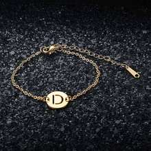Fabulous 100% Real Stainless Steel Gold Filled A-Z Initial Name Letter Charm Bracelet for Women Female AAAAA Quality Bracelet(China)