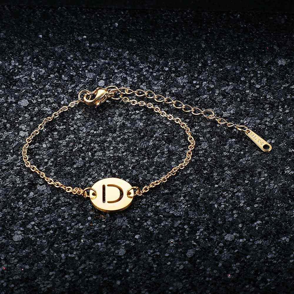 Fantastyczny 100% prawdziwe ze stali nierdzewnej złoty wypełniony A-Z nazwa początkowa list Charm bransoletka dla kobiet kobieta AAAAA jakości bransoletka