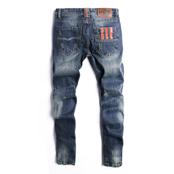 Dsel Brand Straight Fit Ripped Jeans Hot Sale Fashion Men Jeans  Italian Designer 100% Cotton Distressed Denim Jeans Homme hot sale 2017 new arrival spring fashion men jeans famous brand blue skinny denim ripped jeans for men cotton biker jeans hombre