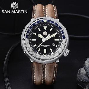 Image 2 - San Martin TUNA Diver Stainless Steel Watch Men Quartz Watches VS37 Solar Sapphire Crystal Date Display Waterproof Super Glow