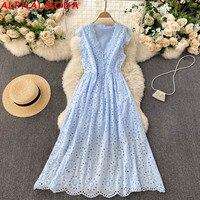 ALPHALMODA-vestido bohemio con cuello en V para mujer, vestido de una sola hilera de botones Retro de encaje entallada, Vestido de playa para vacaciones