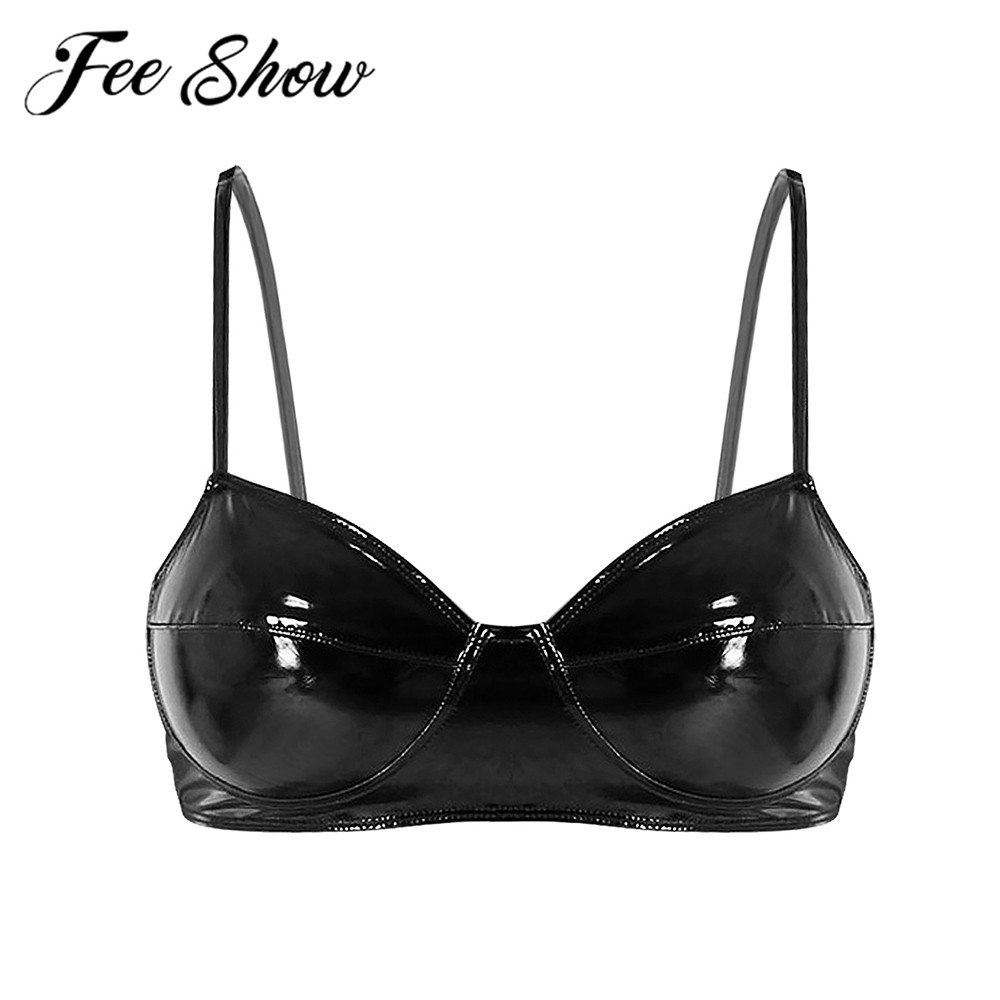 FEESHOW Sexy Women Lingerie Leather Shelf Bra Adult Female Wetlook Rave Intimate Goods Latex Bralette Wire-free Unlined Bras Top