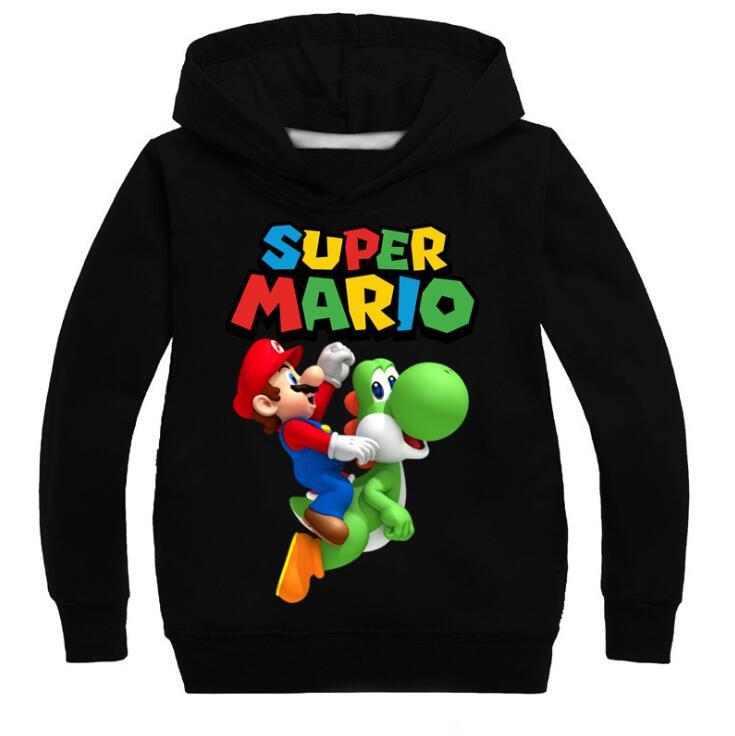 Детские толстовки с капюшоном Mario Bros, модные повседневные хлопковые толстовки для мальчиков и девочек, топы, детский пуловер, спортивная оде...