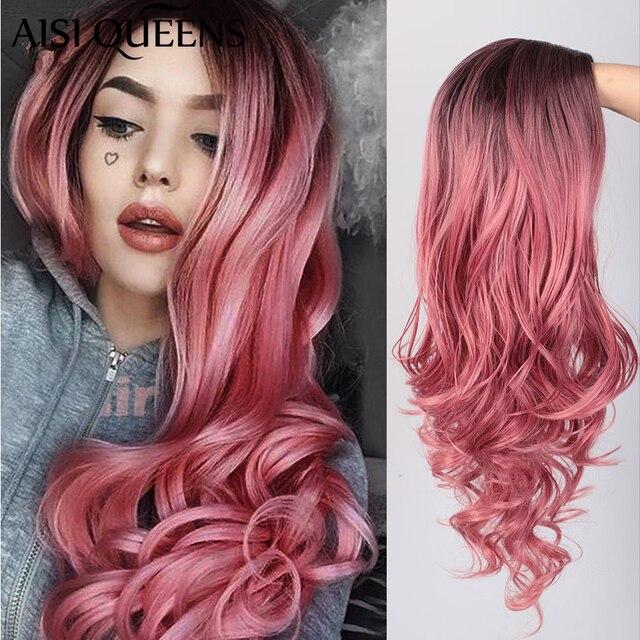 Длинные волнистые парики AISI QUEENS, розовый парик, синтетические парики для женщин, косплей, блонд, серый, коричневый, черный, красный, парики для продажи