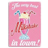 Пользовательские лучшие Milkshake в городе розовые винтажные металлические знаки Ретро настенная доска потертый шик Олово поет тарелка домашн...