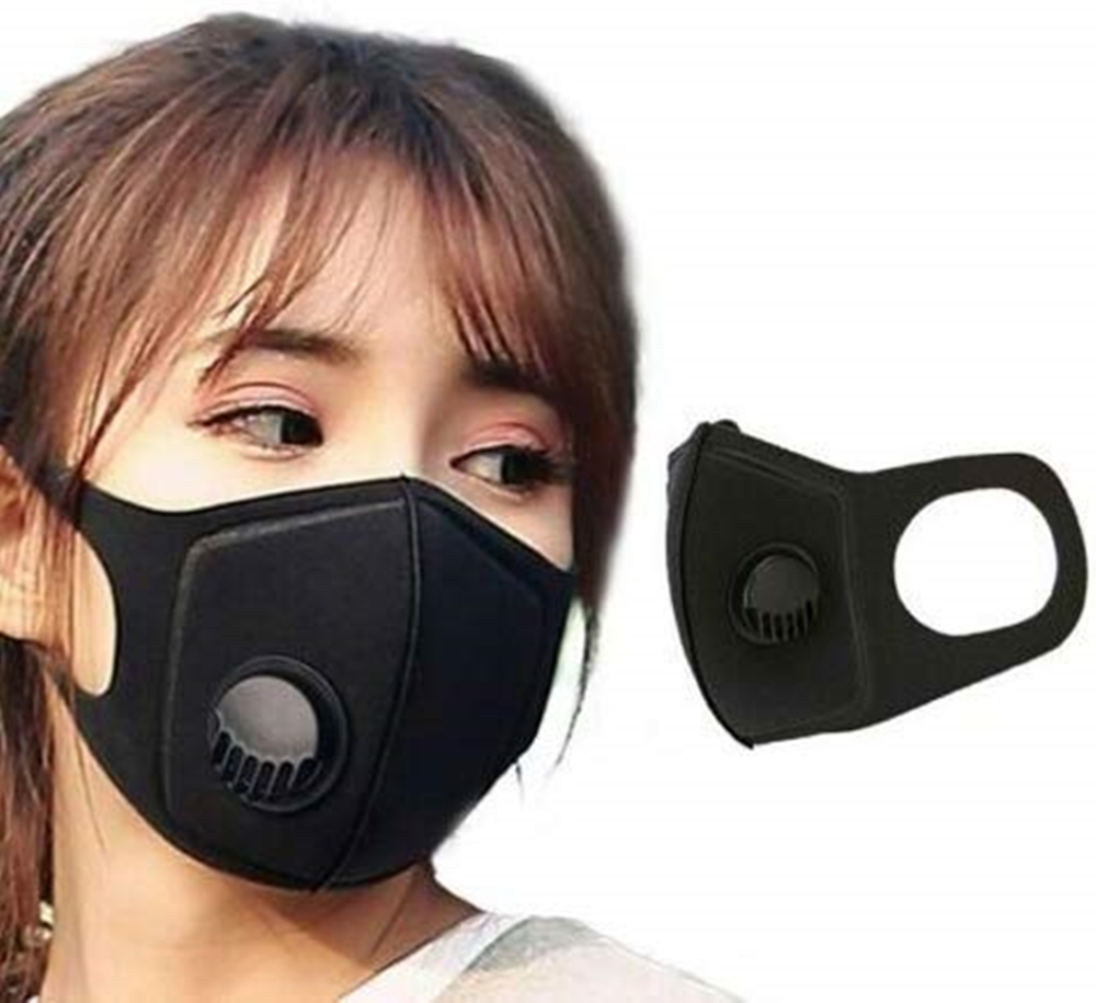 Protective PM2.5 Anti Flu Dust Pollution Mask Face Allergy Particulate Air Filter Air Purification Gas Black Mask Air Valve