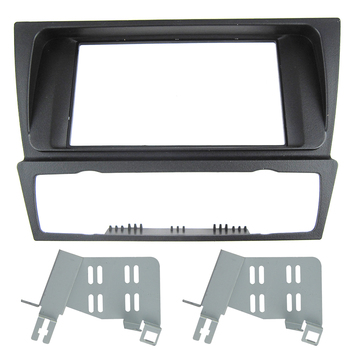 CarBar Double 2 Din Car Radio Fascia for BMW E90 E91 E92 E93 with Auto AC Dashboard Frame Panel Trim Kit Car Stereo Dash image