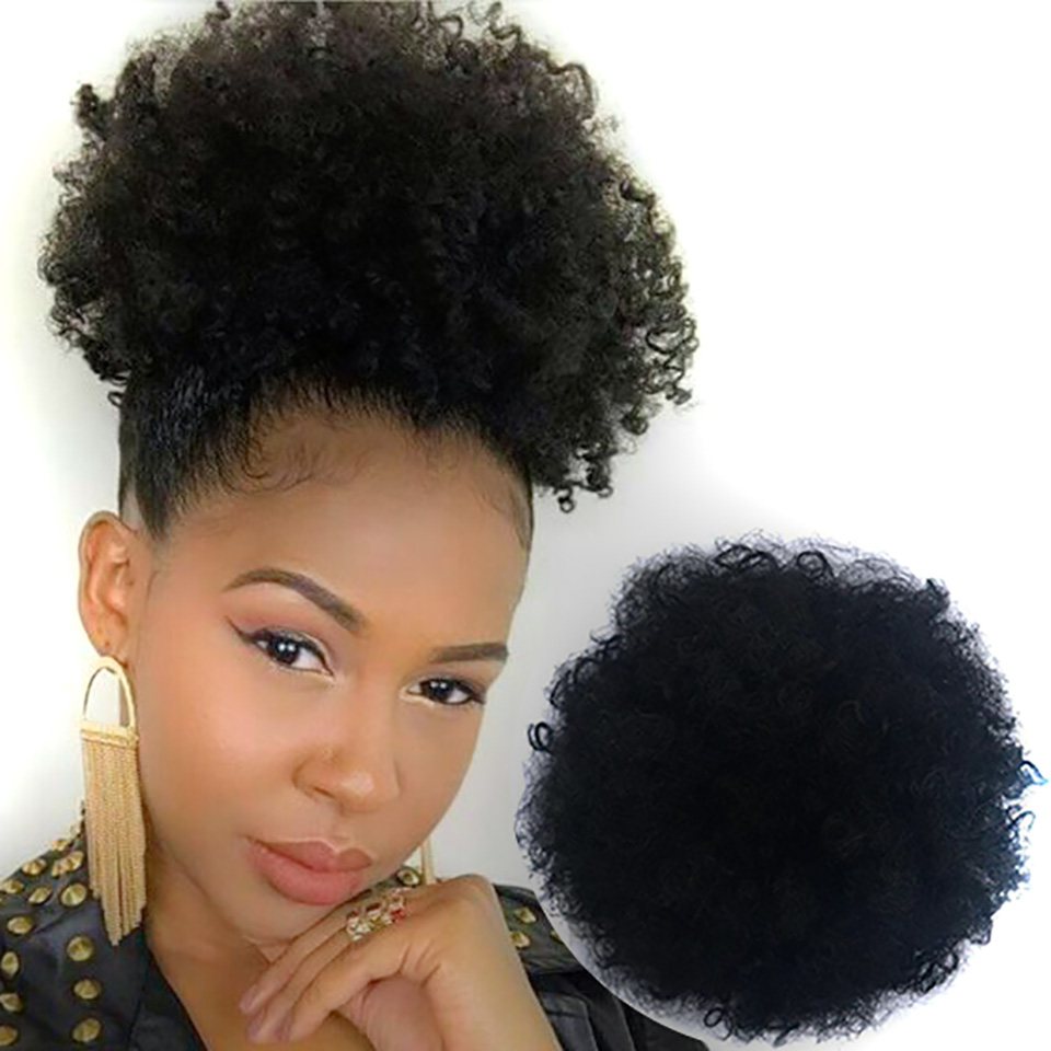 Wrap Drawstring Puff Ponytail African American Afro Short Kinky Curly Bun Hairpin Hairpiece Hair Accessories