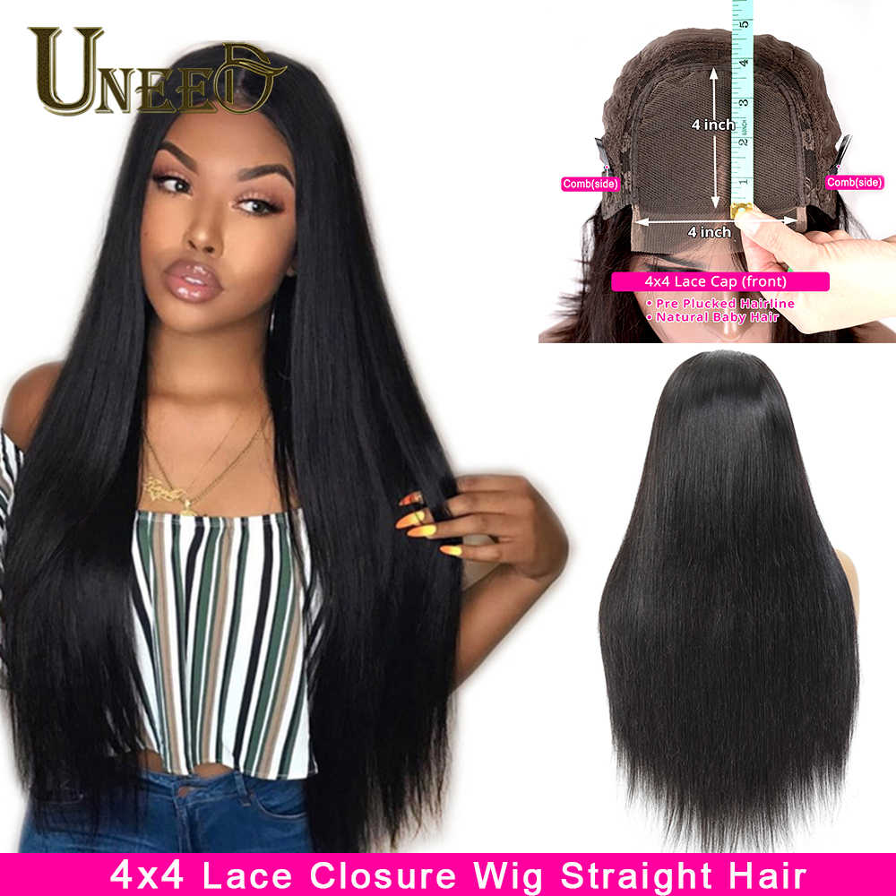 4x4 Closure Wig Straight Lace Closure Wig Straight Human Hair Wig Glueless Pre Plucked Brazilian Straight Hair Wig Remy Hair Wig