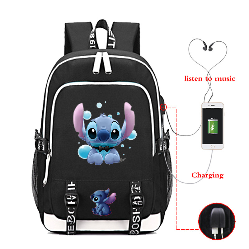 Disney Stitch Travel Bag School Bag Usb Charging Oxford Backpack Lilo And Stitch Teenagers Backpack Laptop Bag Birthday Gift