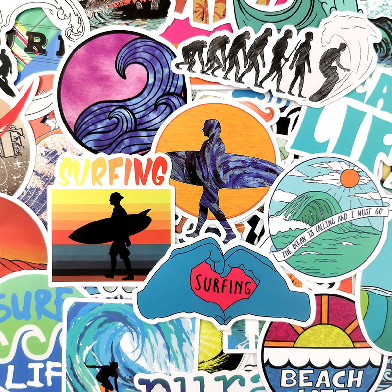 Image 5 - 50Pcs/Set INS Fun Beach Surfing Stickers For Laptop Luggage Skateboard Guitar Motocycle Doodle Decor Helmet Surfboard Stickers-in Stickers from Toys & Hobbies