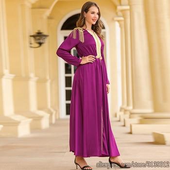 Purple Vestidos Muslim Fashion Dress Abaya Turkey Islam African Dresses Abayas For Women Caftan Kaftan