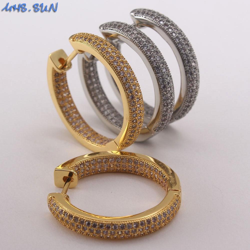 MHS.SUN Gold/Silver Color Hoop AAA Zircon Earing Women Jewelry Round Circle Earrings...