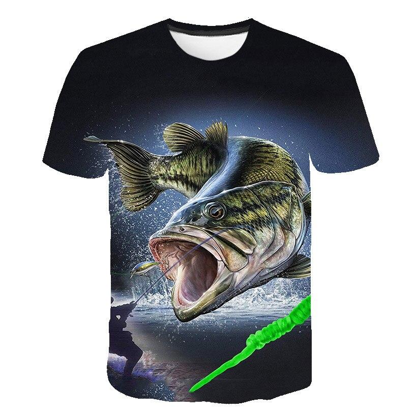 2020 New Fish 3d T Shirt Kids Hip Hop Tshirt Fisherman Tropical Print T-shirt Funny T Shirts Summer Fishinger Children Clothing