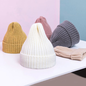 Winter Baby Hat For Kids Warm Knitted Baby Accessories Girl Boy Beanie Cap Solid Color Children Toddler Beanies Bonnet