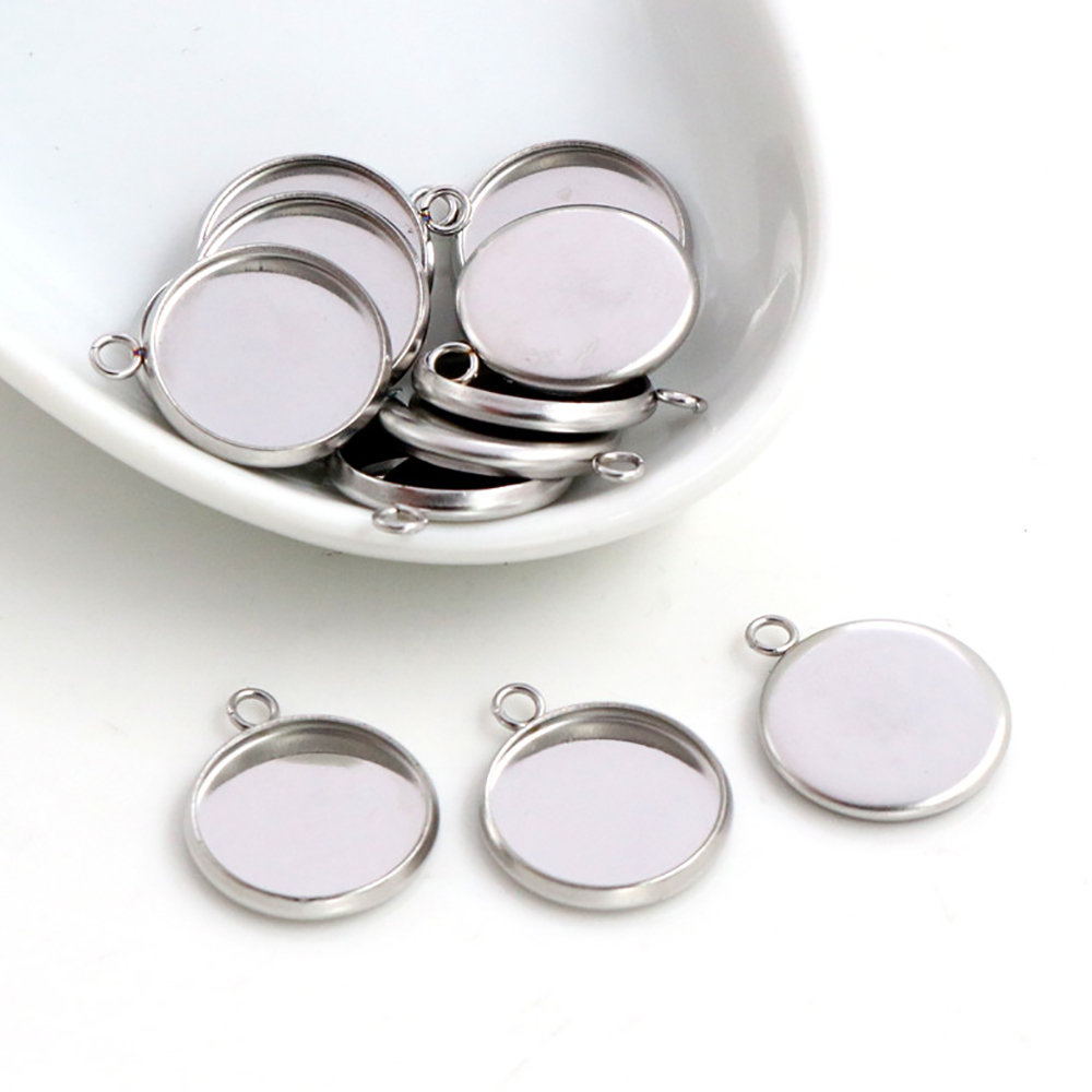20pcs 8mm 10mm 12mm Inner Size Stainless Steel Material One Loop Style Cabochon Base Cameo Setting Charms Pendant Tray