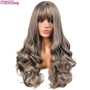 Image 1 - Miss wig długie faliste peruki dla czarnych kobiet afroamerykanin syntetyczne włosy różowe brązowe peruki z grzywką peruka termoodporna