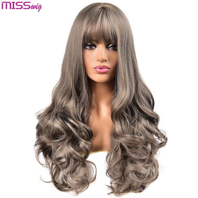 Miss wig długie faliste peruki dla czarnych kobiet afroamerykanin syntetyczne włosy różowe brązowe peruki z grzywką peruka termoodporna