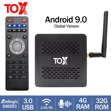 Novo tox1 amlogic s905x3 android 9.0 caixa de tv 4gb 32gb conjunto caixa superior 2.4g 5g wifi bluetooth 1000m 4k media player dolby atmos som