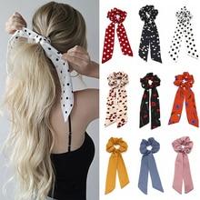 Модный женский шарф для волос с цветочным принтом, эластичная повязка для волос в богемном стиле, бант для волос, резиновые веревки, аксессуары для волос для девочек