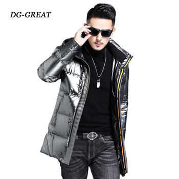 The New Winter Down Coat 2019 Hooded Down Jacket Young  Fashion Bright Thick Warm Men's Coats Male Parka Snow Outwear Jacket цена 2017