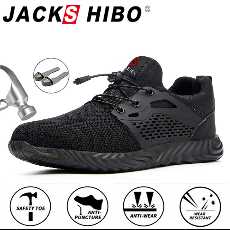 Jackshibo Breathable Safety Work Shoes For Men Male Anti-smashing Steel Toe Working Boots Indestructible Safety Shoes Sneakers 1