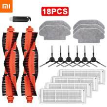 18 pçs hepa filtro rolo spin escova mop pano para xiaomi mijia styj02ym branco/preto aspirador de pó peças acessórios