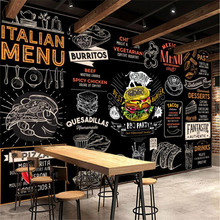 Background Wallpaper American-Style Fast-Food Mural Burger Restaurant Pizza Western 3D