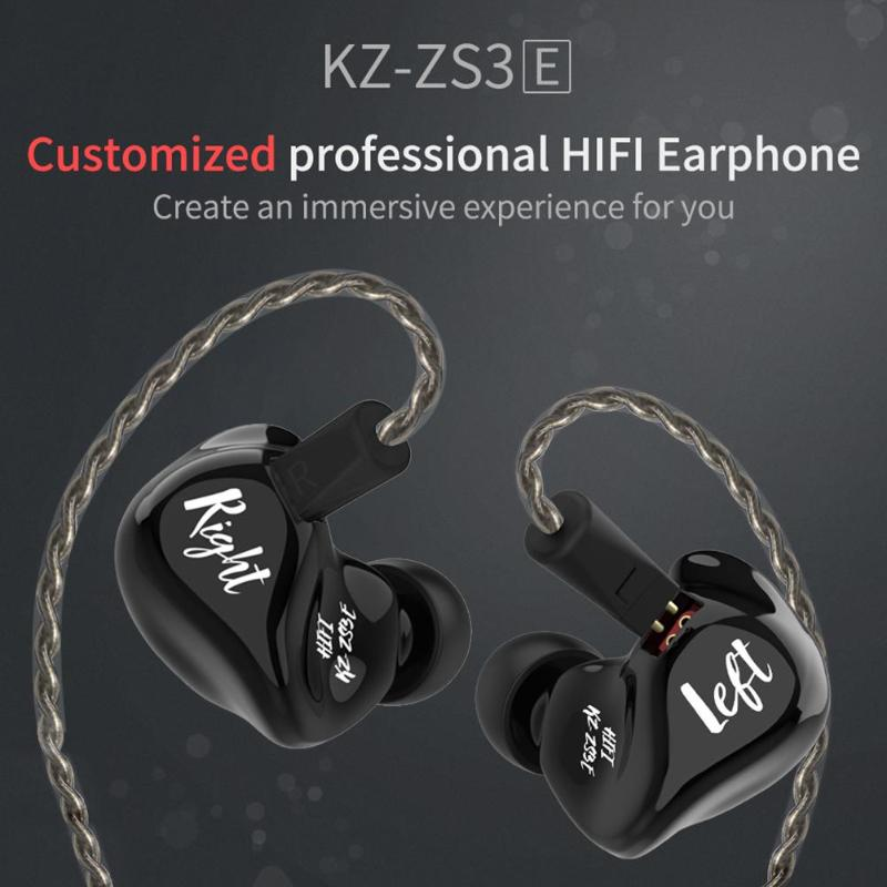 Hot Sale Earphones Multi-function Hit Color KZ ZS3E In-Ear Earphone Balanced Armature Earbuds Monitor with Detacable Cable