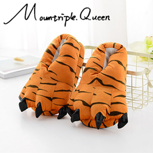 Autumn and Winter Color Funny Animal Paw Unisex Slippers Women Cute Monster Claw Cartoon Soft Plush Warm Home