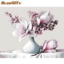 Ruopoty цветок магнолии diy Краска по номерам рамка Акриловая