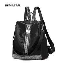 Fashion Womens Sequin Backpack Designer Female Bagpack Simple Light Lady Large Capacity Shining