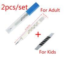2 pièces appareil de mesure de la température corporelle aisselle verre thermomètre au mercure produit de soins de santé à domicile écran de grande taille