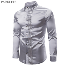 Shiny Silver Sequin Shirt Men 2019 Slim Fit Silk Satin Mens DJ Dance Shirts Night Club Stage Party Shirts Chemise Homme Camisas