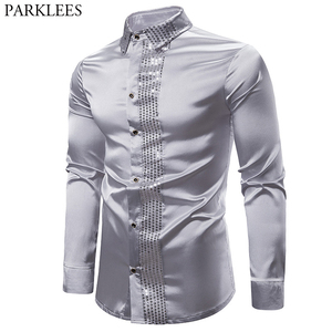Image 1 - Shiny Silver Sequin Shirt Men 2019 Slim Fit Silk Satin Mens DJ Dance Shirts Night Club Stage Party Shirts Chemise Homme Camisas