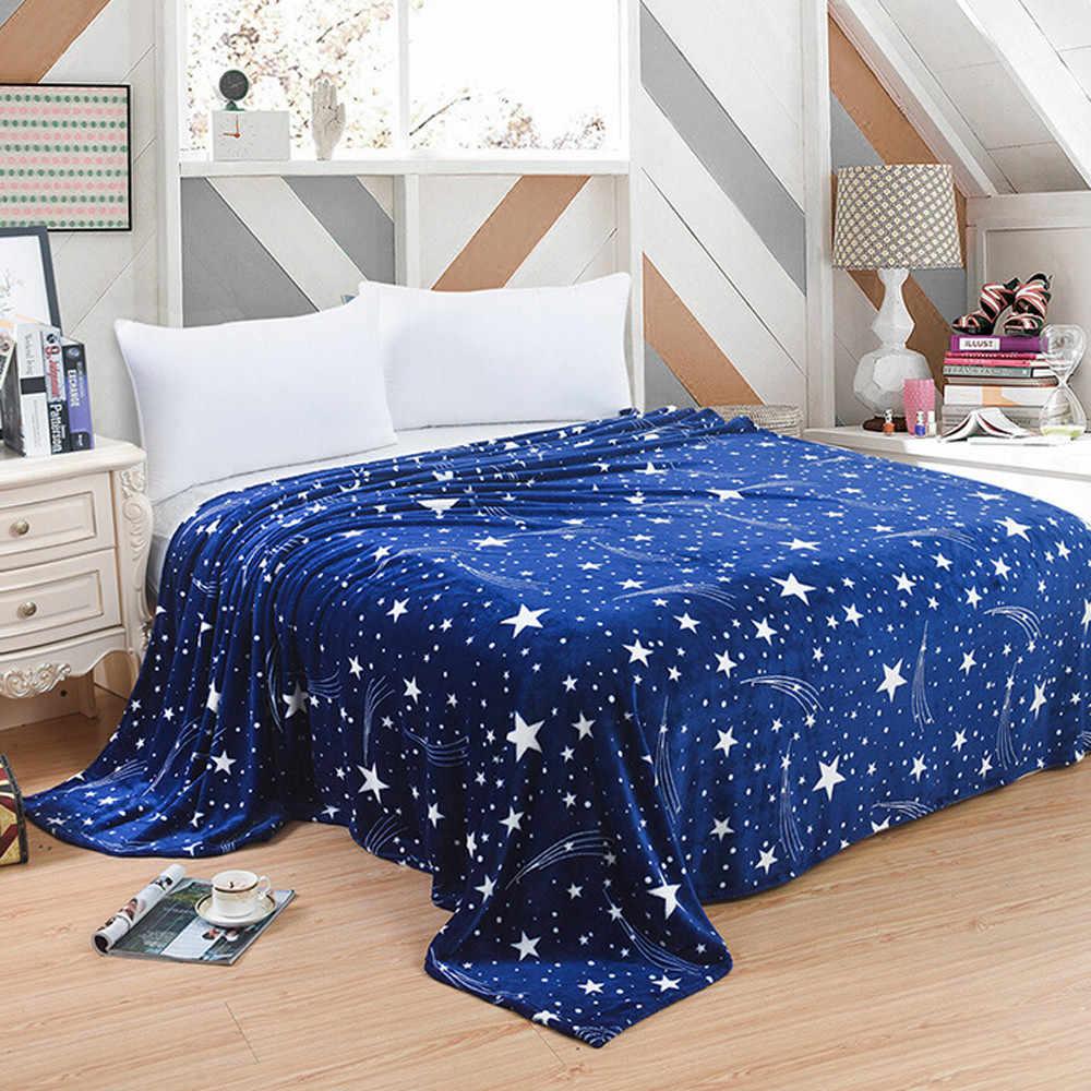 Super macio quente sólido quente micro pelúcia velo cobertor lance sofá cama galxy cobertor azul flanela cama #15