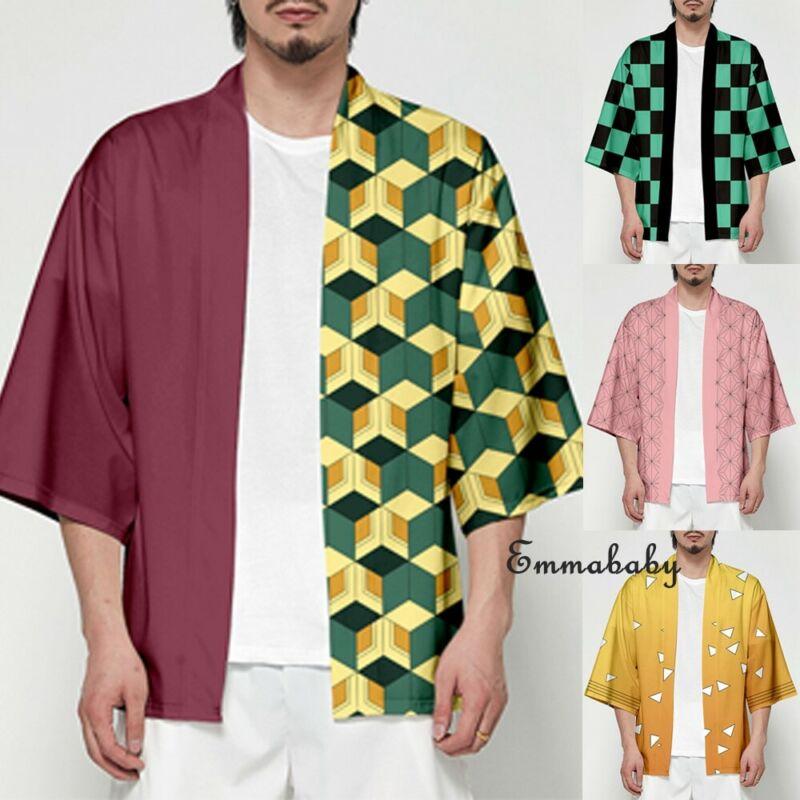2020 HOT Novelty Men Women Unisex Demon Slayer Kimetsu No Yaiba Characters Cosplay Kimono Haori Coat Cosplay Jackets Cardigan
