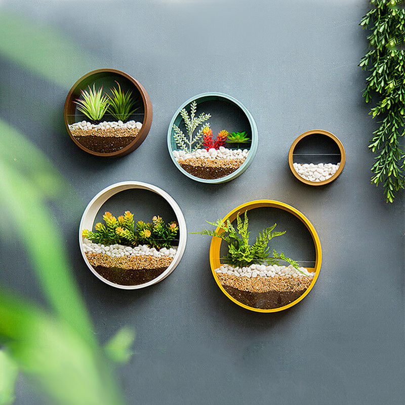 Wall Vase Art Solid Color Bonsai Round Vase Artificial Flower Basket Wall Planter Pot Colored Stone Hanging Vases for Home Decor