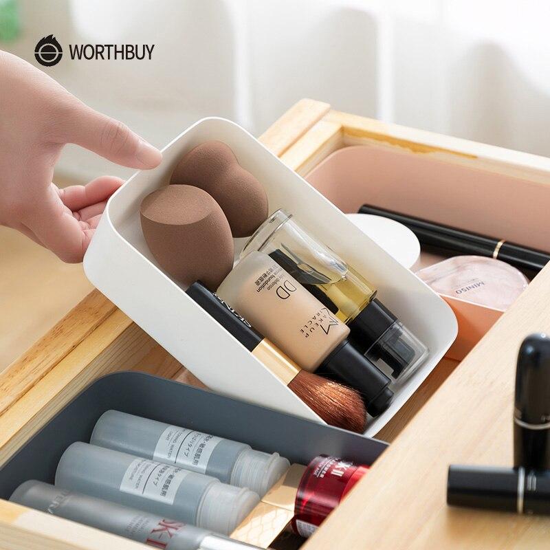 WORTHBUY Makeup Organizer Box Plastic Cosmetics Storage Drawers For Tableware Desktop Storage Box Kitchen Storage Organizer