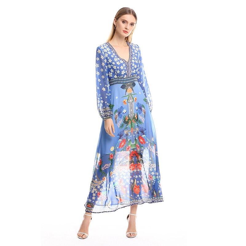 2019 nouveauté luxe piste Designer de haute qualité à manches longues col en V en mousseline de soie imprimé Floral robes femmes tenue décontractée femme
