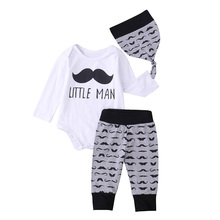 AmzBarley Baby Boys Autumn clothes set long sleeve Cotton Romper+mustache Trousers+Hat Newborn Letter printing tops for 6-24M