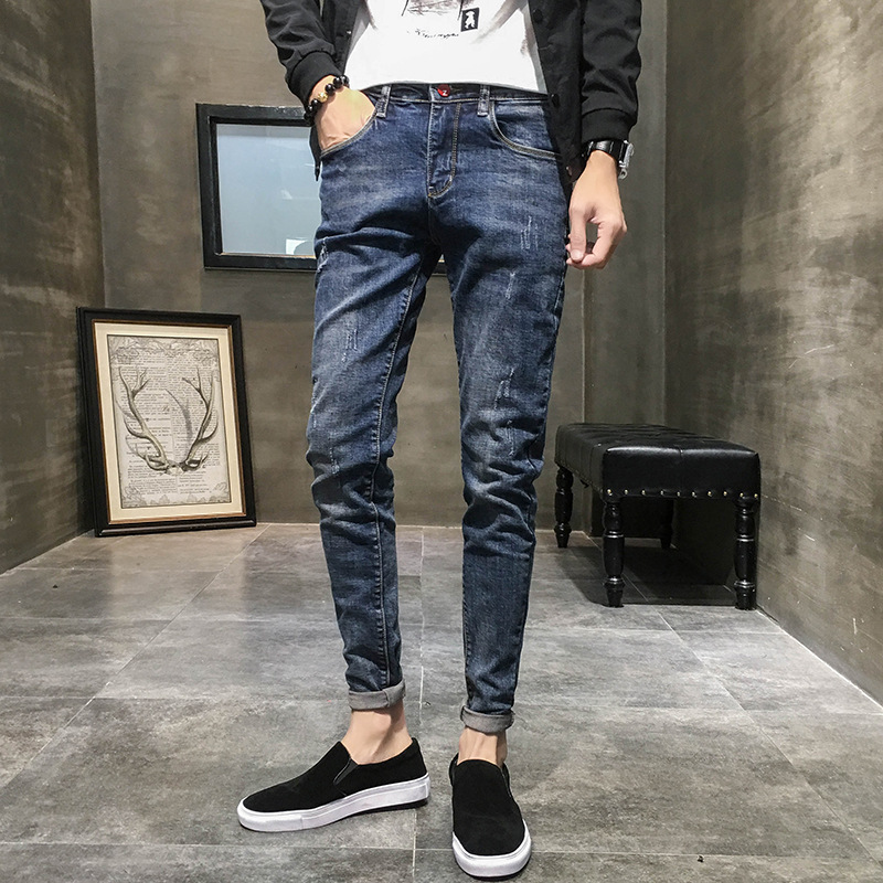 Cotton Jeans Men's Skinny Pants Elastic-Spring And Autumn Japanese-style Slim Fit Fashion Trousers Korean-style Business Youth S