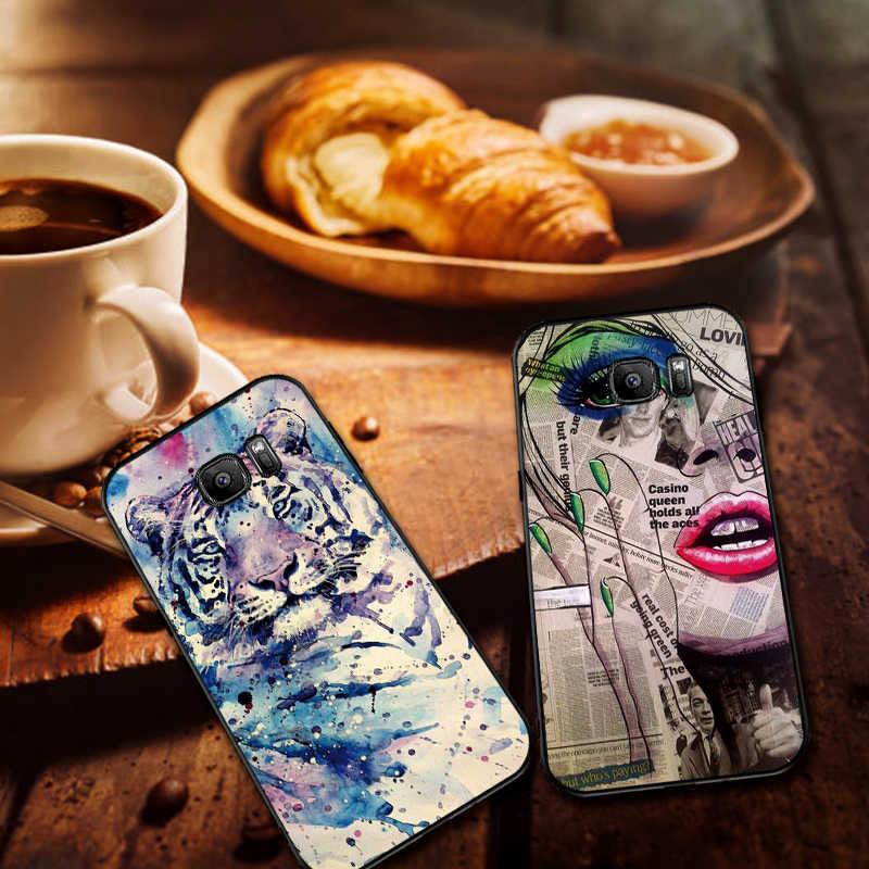 اغلفة السامسونج S8 S9 S10 زائد نمط من الفن ملاحظة 8 9 M10 M20 M30 S6 S7 حافة غطاء الهاتف هدية