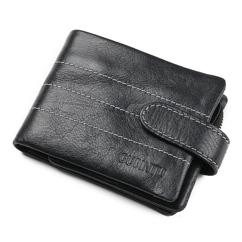 Mode hommes en cuir avec fermoir en aluminium portefeuilles porte-cartes de crédit Dollar embrayage sac d'argent Style restreint portefeuilles pour hommes - 2